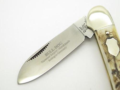 Vtg 1997 Bulldog Brand Solingen Stag Canoe Folding Pocket Knife