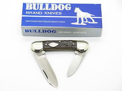 VTG 1986 BULLDOG BRAND SOLINGEN TOBACCO CANOE FOLDING POCKET KNIFE BONE MINT