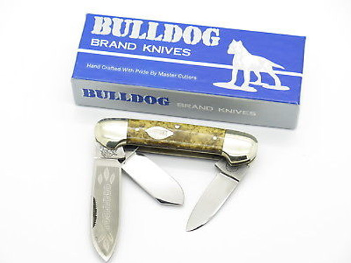 Vtg 1986 Bulldog Brand Tobacco Canoe Folding Pocket Knife Gold Dust