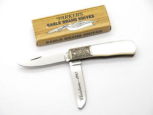 VINTAGE 1982 CHRISTMAS PARKER SEKI JAPAN SCROLLED PEARL TRAPPER FOLDING KNIFE