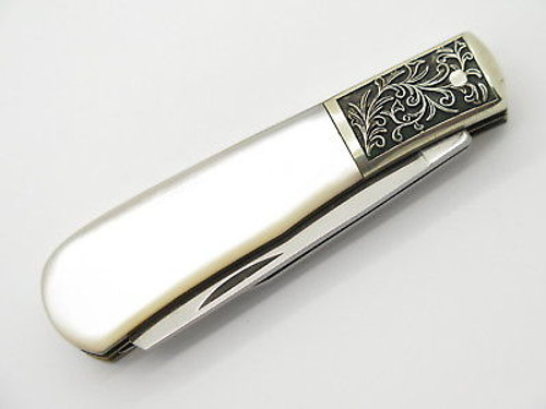 Vtg 1982 Christmas Parker Seki Japan Scrolled Pearl Trapper Folding Knife