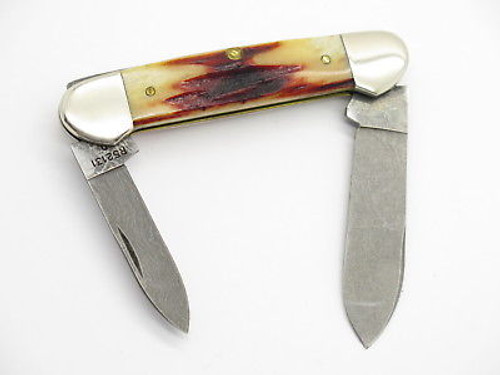 1998 Case XX 52121 Damascus Red Stag Canoe Folding Pocket Knife