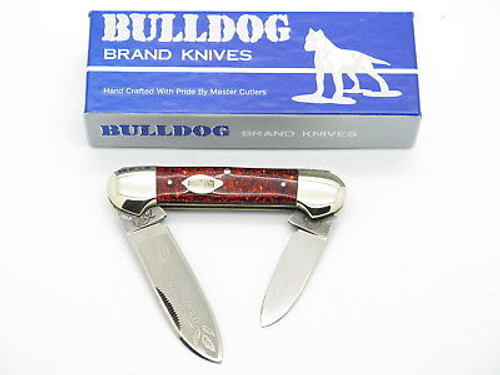 VINTAGE 1986 BULLDOG BRAND TOBACCO CANOE FOLDING POCKET KNIFE RED GLITTER