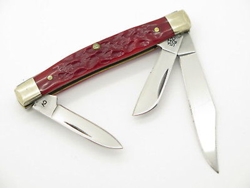 2007 CASE XX 6344 CV RED BONE SMALL STOCKMAN FOLDING POCKET KNIFE