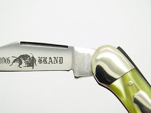 VTG 1980s BULLDOG BRAND FOLDING LOCKBACK POCKET KNIFE GOLD CELLULOID