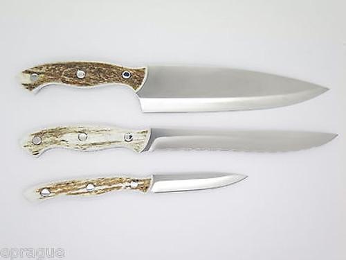 BUCK 0930EKS3 930 ELK STAG ANTLER KITCHEN 3 KNIFE CUTLERY SET CHEF SLICER PARING
