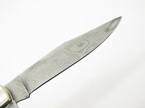 Vtg Parker Edwards Jacksonville Damascus Stag Trapper Folding Pocket Knife