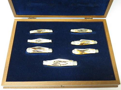 Vtg 1980 Case XX 75th Anniversary Stag Folding Pocket Knife Box Set Scrolled