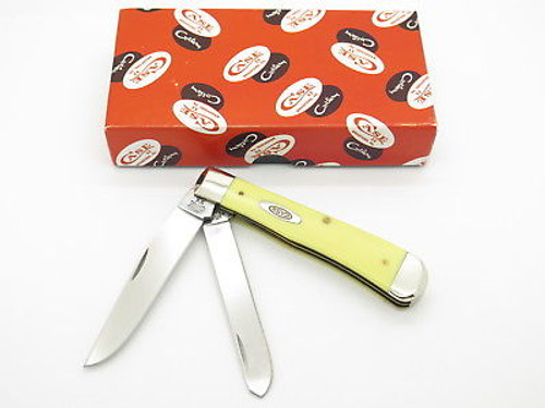 2015 CASE XX 6250 YELLOW DELRIN TRAPPER FOLDING POCKET KNIFE ANTIQUE STAMP