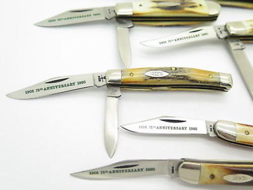Vtg 1980 Case XX 75th Anniversary Stag Folding Pocket Knife Set of 7 & Box