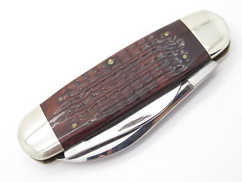 Vintage 10 Dot 1980 Case XX 6250 Sunfish Elephant Toenail Brown Folding Pocket Knife