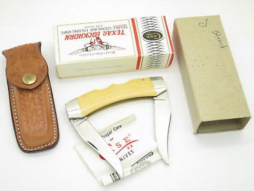 Vtg 1980 Case XX Texas Lockhorn Folding Hunter Lockback Knife & Box