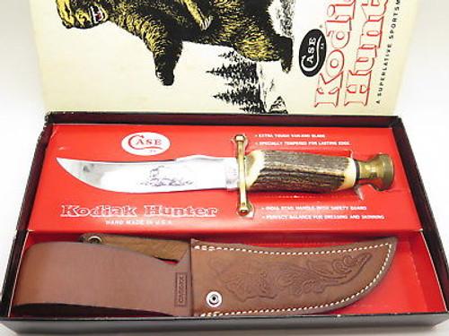 Vtg 1980 Case XX Kodiak Hunter Stag Fixed Blade Bowie Hunting Knife 10 Dot & Box
