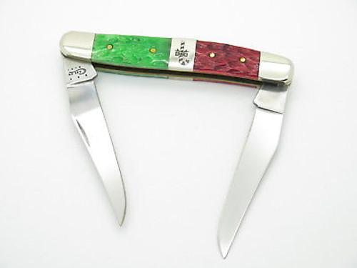 2013 CASE XX MUSKRAT FOLDING POCKET KNIFE CHRISTMAS JIGGED CANDY CANE BONE