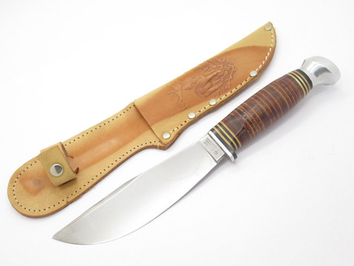 Boker Solingen Germany 159 Fixed Blade Hunting Bowie Knife & Leather Sheath