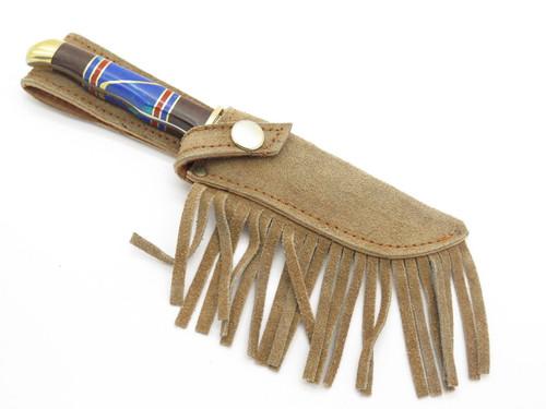 Vintage Custom Doris Yazzi Navajo Turquoise Inlay Fixed Blade Knife & Sheath