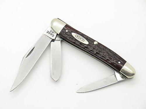 Vtg 1940-1964 Case XX 087 Stockman Folding Pocket Knife Red Bone Nice