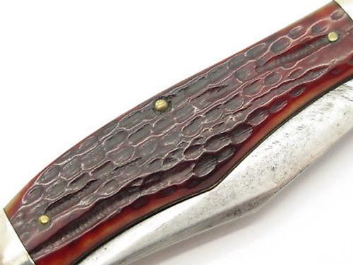 Vintage 1940-1964 Case XX 6265 Sab Large Folding Hunter Knife Red Jigged Bone