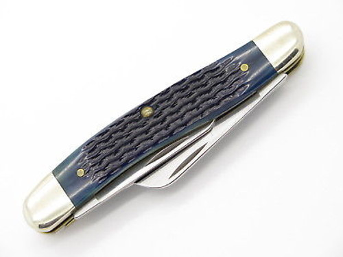 2001 CASE XX 6318 STOCKMAN BLUE JIGGED BONE FOLDING POCKET KNIFE NEAR MINT