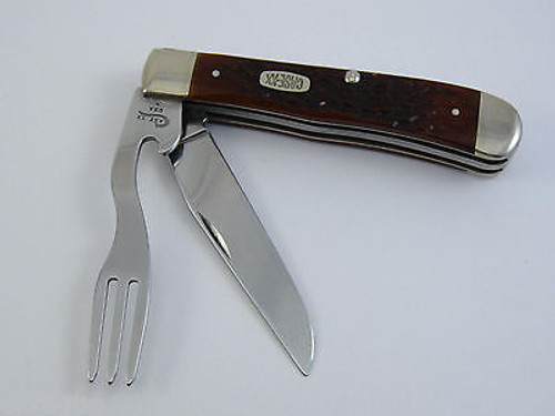 1999 Case XX 6254 Brown Bone Hobo Trapper Folding Pocket Knife With Tin