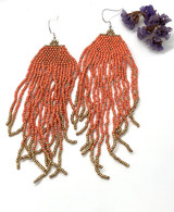 Coral & Gold bead earrings