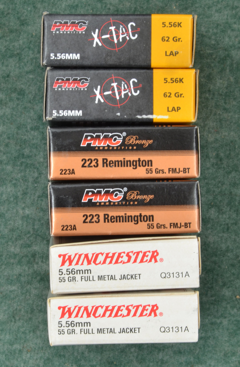 AMMUNITION 5.56MM  MIXED LOT OF SIX BOXES - C32270