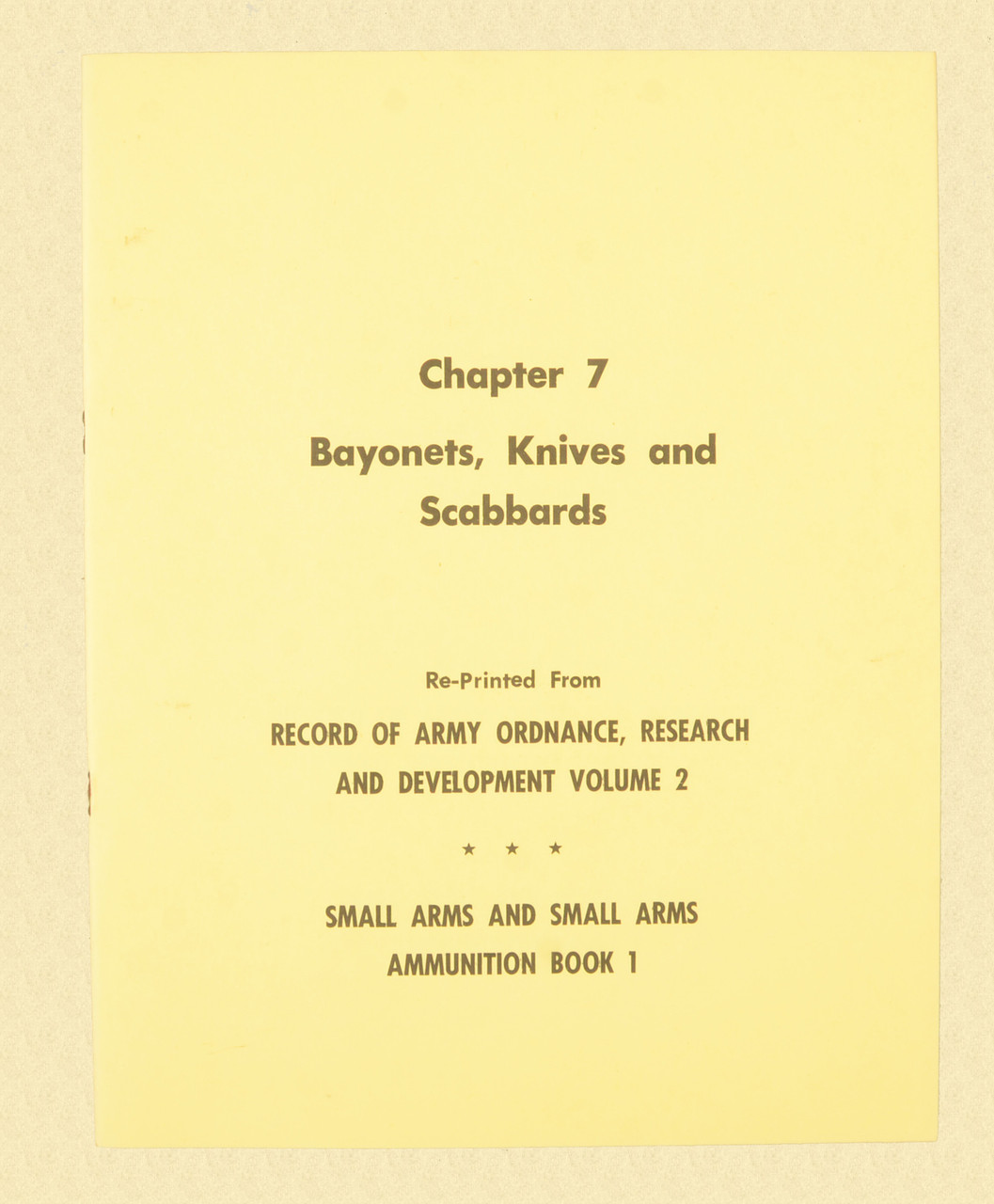 BOOKLET BAYONETS KNIVES AND SCABBARDS CHAPTER 7 - K1834