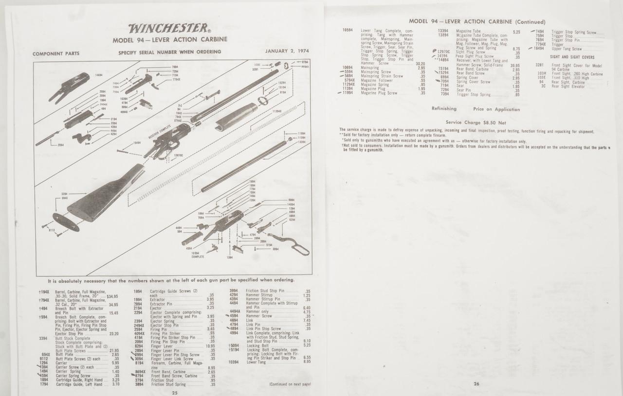 WINCHESTER MODEL 94 PRE-64 CARBINE PARTS - C33374