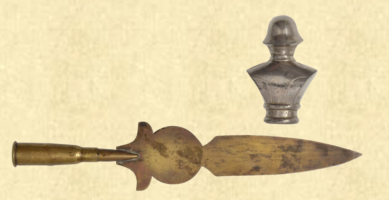 SOLDIER BUST & TRENCH ART LETTER OPENER - C41641
