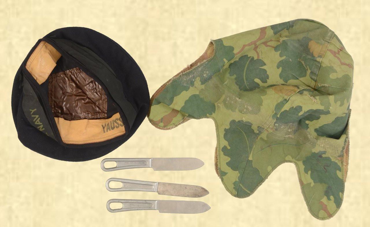 U.S. NAVY CAP, MESS KIT KNIFES, HELMET COVER (LOT) - C41605