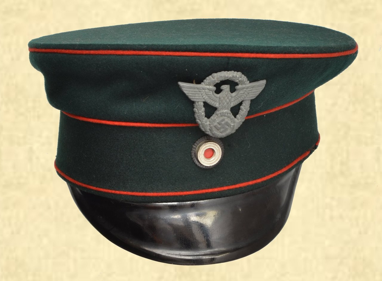 UNKNOWN OFFICER'S VISOR CAP W/RED PIPING - C41676