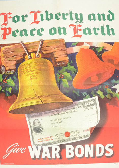 WW2 CHRISTMAS WAR BONDS POSTER AND BOOK BONUS - C17233