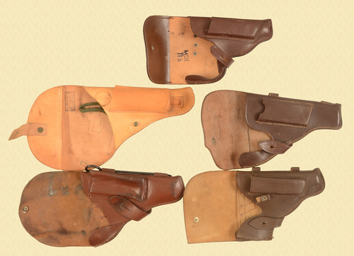 HOLSTERS FIVE ASSORTED MILITARY HOLSTERS - C33491