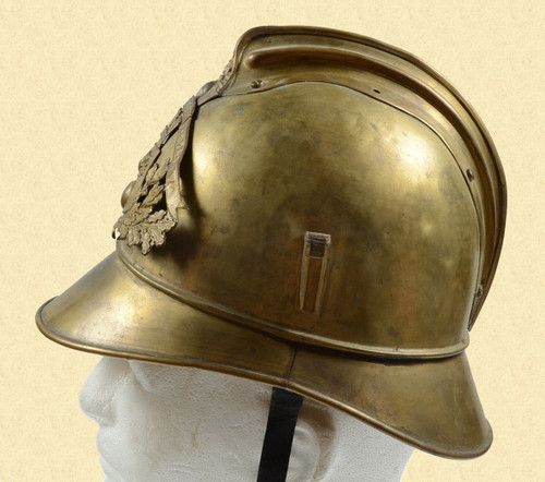 FRENCH BRASS FIREMANS HELMET - C19010
