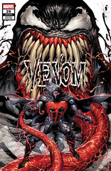 VENOM #26 UNKNOWN COMICS TYLER KIRKHAM EXCLUSIVE VAR (07/15/2020)  (W) Cates, Donny (A) Bagley, Mark (C) Kirkham, Tyler MARVEL COMICS  'VENOM BEYOND' BEGINS HERE! If you thought VENOM ISLAND was insane comic book action of the highest order- then shut your yapper and face front- True Believer- because we're about to outdo ourselves! For months- the Maker has been fascinated with symbiotes. IN THIS ISSUE we find out why - and what he intends to do with any he can get his hands on… Rated T+