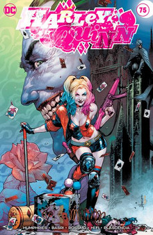 HARLEY QUINN #75 UNKNOWN COMICS  EXCLUSIVE VAR  (W) Humphries, Sam (A) Basri, Sami (C) Kgu, Kael DC COMICS  At last- it's the star-studded roast of Harley Quinn! Nothing is off-limits- no topic is out of bounds- and no one-and we mean no one!-will escape unscathed. Harley may be the funniest person in the DC Universe- but how well can she take a joke? Plus- in a backup story illustrated by superstar artist Riley Rossmo tying into 'The Joker War-' Harley Quinn faces off against Punchline!