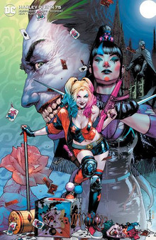 HARLEY QUINN #75 UNKNOWN COMICS  VIRGIN EXCLUSIVE VAR  (W) Humphries, Sam (A) Basri, Sami (C) Kgu, Kael DC COMICS  At last- it's the star-studded roast of Harley Quinn! Nothing is off-limits- no topic is out of bounds- and no one-and we mean no one!-will escape unscathed. Harley may be the funniest person in the DC Universe- but how well can she take a joke? Plus- in a backup story illustrated by superstar artist Riley Rossmo tying into 'The Joker War-' Harley Quinn faces off against Punchline!