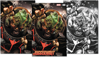 JUGGERNAUT #1 (OF 5) DX  3 PACK (W) Fabian Nicieza (A) Ron Garney (CA) Mico Suayan  MARVEL COMICS  READY OR 'NAUT- HERE HE COMES! A mystic gem. A force of overwhelming power. Nothing can stop the Juggernaut. Except himself. Another building falls. Cain Marko is done letting others pick up the pieces of the things he's destroyed. Renowned X-scribe Fabian Nicieza (X-FORCE- DEADPOOL) and celebrated artist Ron Garney (CAPTAIN AMERICA- DAREDEVIL) team up to take the unstoppable in a new bold new direction! Rated T+