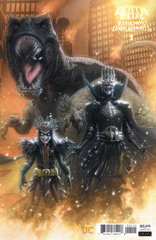 DARK NIGHTS DEATH METAL LEGENDS OF THE DARK KNIGHTS #1 (ONE SHOT) INC 1:25 KAARE ANDREWS VAR Written by: Various Art by: Various Cover Art by: Kaare Andrews  The DC Universe has become engulfed by the Dark Multiverse, where demons dwell and reality is overrun by monstrous versions of the Dark Knight, all ruled by the Batman Who Laughs. In this collection of short tales, learn the terrifying secrets of these new Bats out of hell and other creatures of the night like Robin King, whose origin is just the worst! Plus, read about the secret buried beneath Castle Bat, the sentient Batmobile, and…how did Batman turn into a dinosaur?  Release Date: 8/4/2020  UCS Item #: UCS20060436 UPC: 76194136922800121 Product Code: 76194136922800121