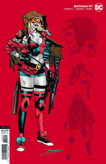 BATMAN #97 INC 1:25 JORGE JIMENEZ HARLEY VAR (JOKER WAR)  Written by: James Tynion IV Art by: Jorge Jimenez Cover Art by: Jorge Jimenez  The Joker's army is growing hour by hour, with weapons beyond anything the Clown Prince of Crime has ever used before. Batman must hold his mind together so he can strike the final blow and take back his city-but how can he heal the rifts he's created in his life to get the help he needs? And while all this is happening, the villains of Gotham City are waiting out the carnage Joker has unleashed-and Catwoman assembles an army of her own!  Release Date: 8/18/2020 FOC Date: 7/27/2020 11:59:59 PM  Retail :50.00  UCS Item #: UCS20038051 UPC: 76194134182809731 Product Code: 76194134182809731
