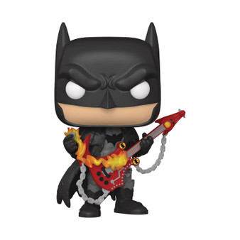 "POP DC HEROES DEATH METAL BATMAN W/GUITAR PX (C: 1-1-2) FUNKO From Funko. A PREVIEWS Exclusive! From the pages of DC's Dark Nights: Death Metal by Scott Snyder and Greg Capullo, join the quest to stop Perpetua and the Batman Who Laughs with this PREVIEWS Exclusive Death Metal Batman with Guitar POP! Vinyl figure! Batman appears in his heavy metal style complete with his face-meltingly cool scythe guitar! The PREVIEWS Exclusive Death Metal Batman measures about 3 3/4"" tall and comes packaged in a window box. Don't miss out on adding this heavy metal exclusive to your collection!"