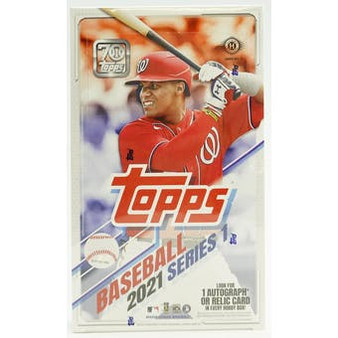 TOPPS COMPANY   Signaling the start of baseball for 2021,Topps Baseball Series 1hits store shelves February 2021. This year's release will celebrate the 70 years of Topps baseball cards, highlighting new rookies, modern day stars, and the legendary players who have played America's Pastime. Collectors will find all new autographs, relics, and inserts in packs of this series celebrating the rich history of Major League Baseball and Topps, on this Platinum Anniversary. 14 cards per pack, 24 packs per box. Hobby