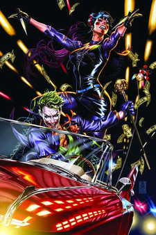 JOKER #1 TEAM VARIANT BY MARK BROOKS   Retail: $11.99   DC Comics (W) James Tynion IV, Sam Johns (A) Guillem March, Mirka Andolfo (CA) Mark Brooks   Following the events of Infinite Frontier #0, The Joker is the most wanted man in the world! But the Clown Prince of Crime is several steps ahead of law enforcement—and he's on the run overseas. James Gordon, facing retirement, realizes this is the manhunt of his life and the last piece of a storied career…but what mysterious and deadly forces are also in pursuit of The Joker? And in the backup story, following the events of the smash hit Punchline #1, DC's most controversial new villain navigates the infrastructure of Blackgate Penitentiary—while on the outside, Harper Row takes up the mantle of Bluebird to stop her brother from falling under Punchline's influence.