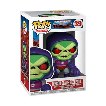 Terror Claws Skeltor Funko POP! #39  He Man's arch-enemy and uncle, Skeletor, is back and more dangerous than ever. Armed with his Terror Claws, Skeletor battled the Snake Men, Horde Army and the Masters of the Universe. Try and take over the universe with your very own Skeletor with Terror Claws Funko Pop! Vinyl!! This Masters of the Universe Skeletor with Terror Claws Pop! Vinyl Figure comes packaged in a window displayed box and measures approximately 3-3/4 inches tall.