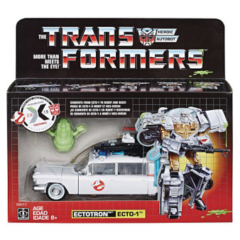 What do you get when you cross the iconic Ecto-1 Cadillac from the 1984 Ghostbusters movie with a Transformers robot? A converting Paranormal Investigator, called Ectotron! Commemorate 35 years of both Transformers and Ghostbusters with 1 awesome figure! Convert Ecto-1 Cadillac mode to Ectotron robot mode in 22 steps. Features classic Tech Specs showing the capabilities of Ectotron, including strength, speed, and bustabilty.