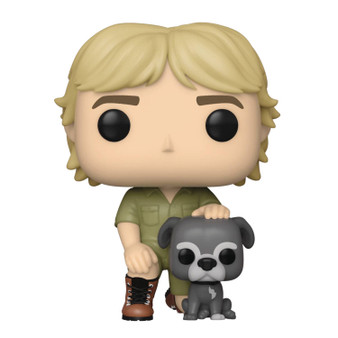 """POP CROCODILE HUNTER STEVE IRWIN W/ SUI VINYL FUNKO From Funko. Crikey! Your favorite Crocodile Hunter, Steve Irwin, joins your Funko collection with his Staffordshire Bull Terrier, Sui! Each Pop! figure stands about 3 3/4"""" tall and comes in window box packaging."""