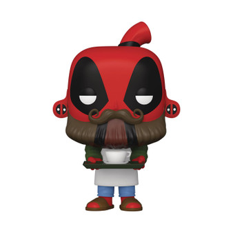 """POP MARVEL DEADPOOL 30TH COFFEE BARISTA FUNKO   From Funko. Celebrate Deadpool's 30th Birthday with these Pop! Figures from Funko. The Merc with a Mouth is all dressed up and ready to party in these 3 3/4"""" tall figures. Collect backyard Griller Deadpool, Coffee Barista Deadpool, Dinopool, Flamenco Deadpool, Senator Deadpool, and LARPing Deadpool! Window Box Packaging."""