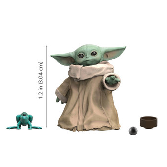 """Highlights THE CHILD: Fans have fallen in love with the character they call """"Baby Yoda,"""" and now they can add him to their Star Wars The Black Series collections AUTHENTICALLY STYLED AFTER THE DISNEY PLUS SERIES: Star Wars The Child action figure authentically styled after the fan-favorite character from the Disney Plus series The Mandalorian PREMIUM ARTICULATION AND DETAILING: Multiple points of articulation allow fans to pose their adorable space-baby figure in a variety of poses for display in their collection STREAMING SERIES-BASED CHARACTER-INSPIRED ACCESSORIES: Includes live-action TV series-based character-inspired accessories that allow fans and collectors to imagine scenes from the Star Wars galaxy LOOK FOR OTHER FIGURES FROM A GALAXY FAR, FAR AWAY: Look for movie- and entertainment-inspired Star Wars The Black Series figures to build a Star Wars galaxy (Each sold separately. Subject to availability) Specifications Dimensions (Overall): 4.49 Inches (H) x 2.99 Inches (W) x .98 Inches (D) Weight: .22 Pounds Suggested Age: 4 Years and Up Number of Figures: 2 Doll Theme: Science Fiction Articulation (posable joints): 5 Points of Articulation CPSC Choking Hazard Warnings: Choking_hazard_small_parts Material: PVC (Polyvinyl Chloride), ABS (Acrylonitrile Butadiene Styrene) Battery: No Battery Used Street Date: May 4, 2020 TCIN: 79361551 UPC: 5010993761333 Item Number (DPCI): 087-16-6495 Origin: Imported Description From Star Wars The Black Series: The Child 1.1-inch collectible action figure based on the so-cute-it-hurts character from the Disney Plus hit series The Mandalorian! You know, the one that's all over the Internet.  He may look like a """"Baby Yoda,"""" but he's actually called The Child, and he is the most adorable new character from here to the Outer Rim! Now fans can add the pint-sized galactic sensation to their Star Wars The Black Series collections! Kids and collectors can imagine the cutest coos, gurgles, and gabbles the outer reaches have ever known w"""