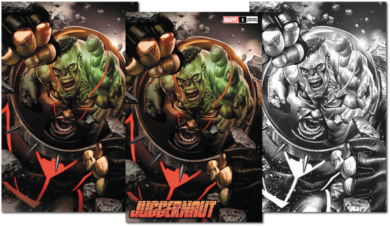 JUGGERNAUT #1 (OF 5) DX  3 PACK (W) Fabian Nicieza (A) Ron Garney (CA)Mico Suayan  MARVEL COMICS  READY OR 'NAUT- HERE HE COMES! A mystic gem. A force of overwhelming power. Nothing can stop the Juggernaut. Except himself. Another building falls. Cain Marko is done letting others pick up the pieces of the things he's destroyed. Renowned X-scribe Fabian Nicieza (X-FORCE- DEADPOOL) and celebrated artist Ron Garney (CAPTAIN AMERICA- DAREDEVIL) team up to take the unstoppable in a new bold new direction! Rated T+