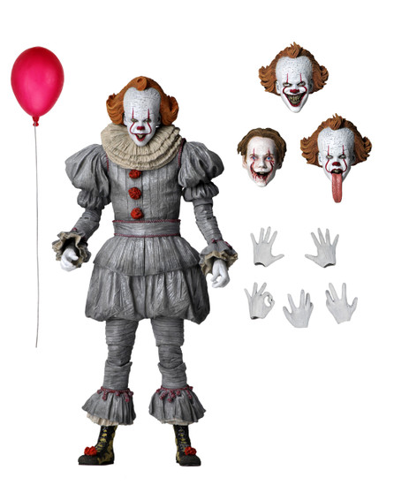 From the newly released IT: Chapter Two, the nightmarish clown returns! It's been 27 years and the Losers Club must find a way to defeat it once and for all.  Based on Bill Skarsgård's portrayal of the shape-shifting creature, this 7″ scale figure features an all-new body to showcase Pennywise's costume change in the second movie. To recreate the most terrifying scenes from the film, the fully articulated figure has four interchangeable heads, plus interchangeable hands and red balloon.  Comes in collector-friendly deluxe window box packaging with opening flap.